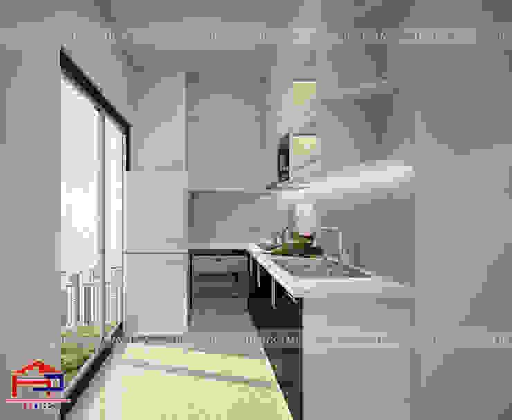 Ảnh thiết kế 3D mẫu tủ bếp acrylic kịch trần nhà anh Nam - Đại Mỗ Nội thất Hpro KitchenCabinets & shelves Gỗ Multicolored