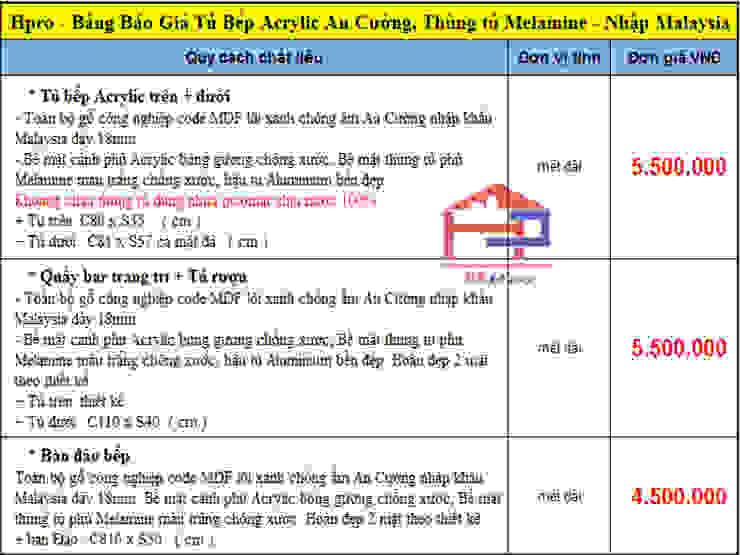 Bảng báo giá tủ bếp gỗ công nghiệp acrylic An Cường Nội thất Hpro KitchenCabinets & shelves Gỗ Multicolored