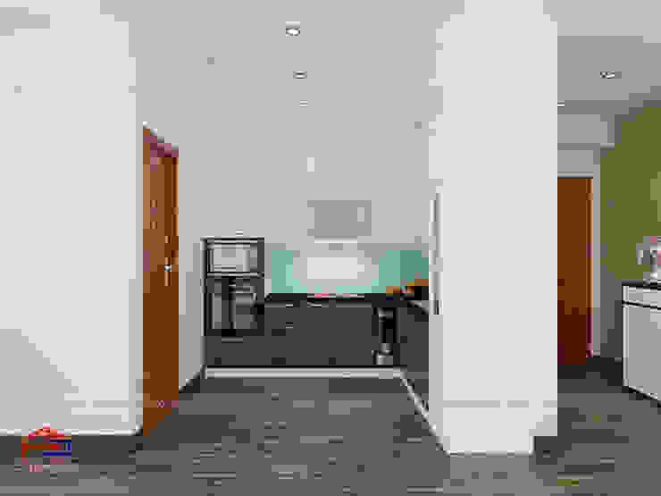 Ảnh thiết kế 3D mẫu tủ bếp laminate kết hợp acrylic nhà anh Điệp - Tố Hữu Nội thất Hpro KitchenCabinets & shelves Gỗ Multicolored