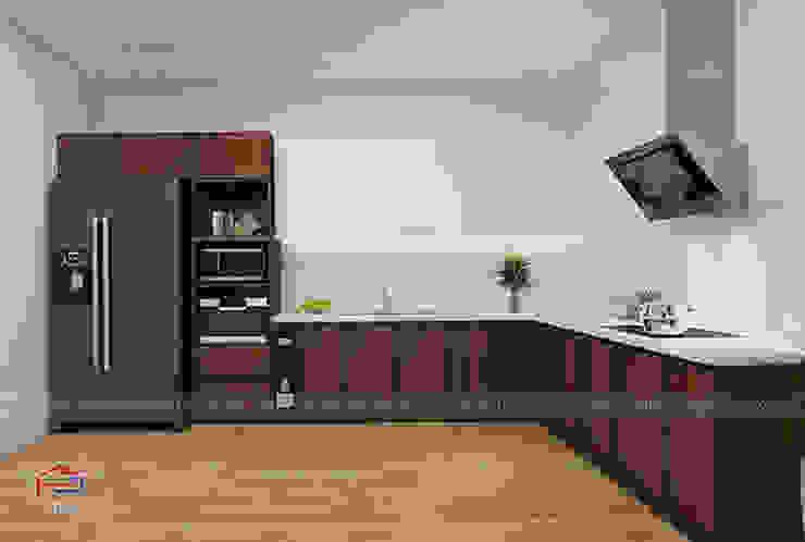 Ảnh thiết kế 3D mẫu tủ bếp laminate kết hợp gỗ acrylic nhà chị Hương - Trung Văn Nội thất Hpro KitchenCabinets & shelves Gỗ Multicolored
