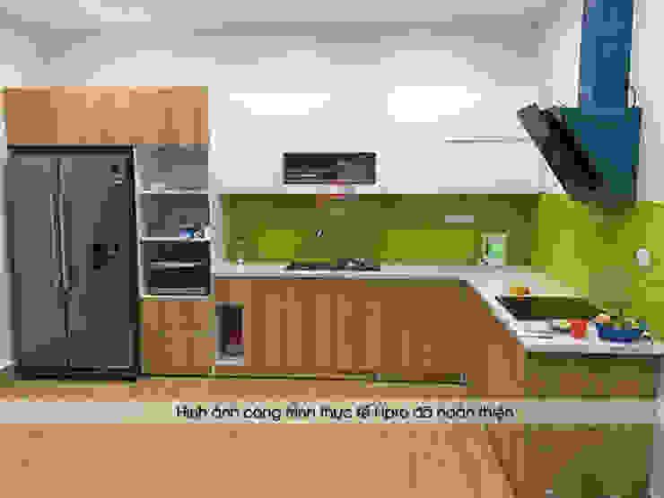 Hình ảnh thực tế mẫu tủ bếp gỗ công nghiệp đẹp laminate nhà chị Hương sau khi Hpro lắp đặt hoàn thiện Nội thất Hpro KitchenCabinets & shelves Gỗ Multicolored