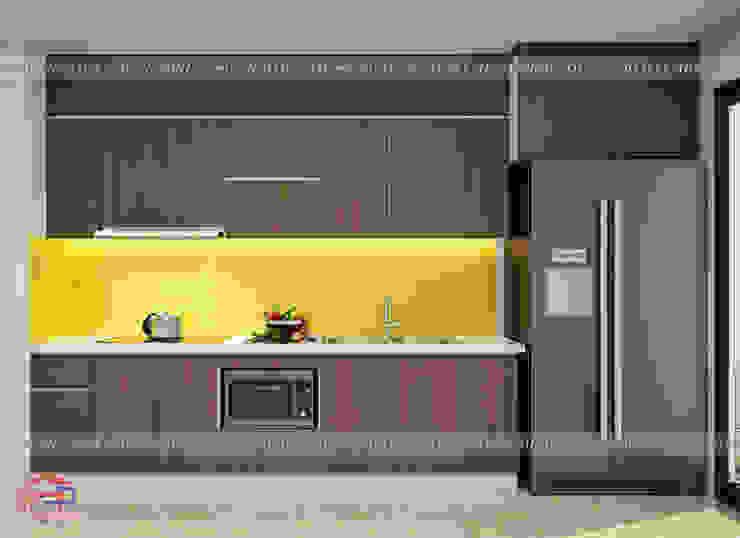 Ảnh thiết kế 3D mẫu tủ bếp laminate chữ I nhà cô Mai - Cầu Giấy Nội thất Hpro KitchenCabinets & shelves Gỗ Wood effect