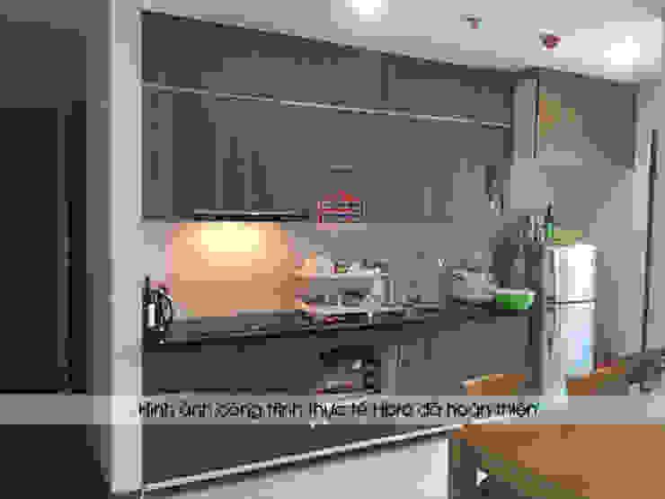Ảnh thực tế tủ bếp gỗ công nghiệp Hà Nội laminate nhà cô Mai – Chung cư 302 Cầu Giấy Nội thất Hpro KitchenCabinets & shelves Gỗ Wood effect