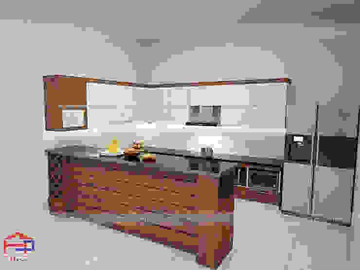 Hình ảnh thiết kế 3D mẫu tủ bếp gỗ công nghiệp đẹp laminate nhà anh Mạnh - Bắc Giang Nội thất Hpro KitchenCabinets & shelves Gỗ Multicolored