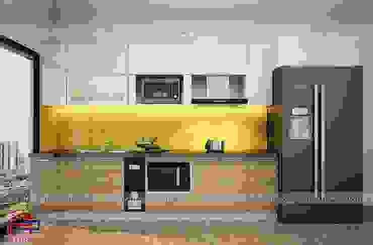 Ảnh thiết kế 3D mẫu tủ bếp gỗ công nghiệp laminate nhà anh Hải - Lĩnh Nam Nội thất Hpro KitchenCabinets & shelves Gỗ Multicolored