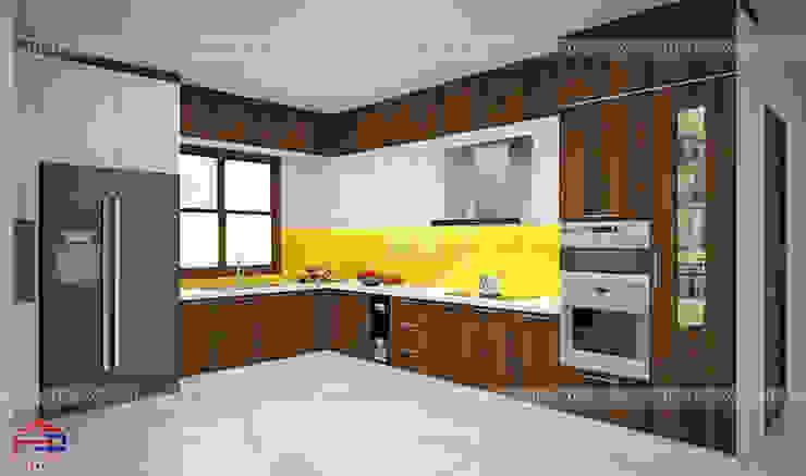 Ảnh thiết kế 3D mẫu tủ bếp gỗ laminate kết hợp chất liệu acrylic nhà chị Phương - Tp.Việt Trì Nội thất Hpro KitchenCabinets & shelves Gỗ Multicolored