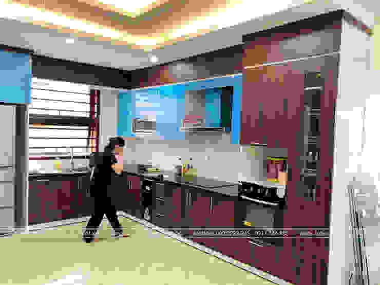 Ảnh thực tế tủ bếp gỗ công nghiệp kiểu hiện đạ laminate kết hợp acrylic nhà chị Phương – Tp.Việt Trì Nội thất Hpro KitchenCabinets & shelves Gỗ Multicolored