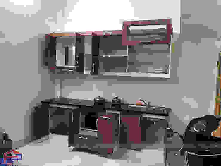Ảnh thực tế tủ bếp bằng gỗ công nghiệp laminate An Cường nhà chị Vinh – Hồng Hà, Hoàn Kiếm Nội thất Hpro KitchenCabinets & shelves Gỗ Wood effect