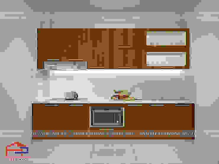 Ảnh thiết kế 3D mẫu tủ bếp laminate nhà chị Vinh - Hoàn Kiếm Nội thất Hpro KitchenCabinets & shelves Gỗ Wood effect