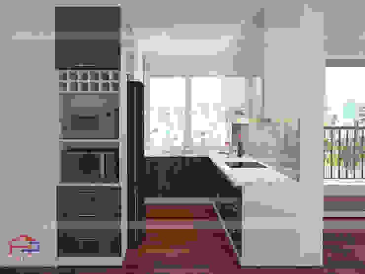 Mẫu tủ bếp laminate màu trấng - vân gỗ hiện đại Nội thất Hpro KitchenCabinets & shelves Gỗ Multicolored