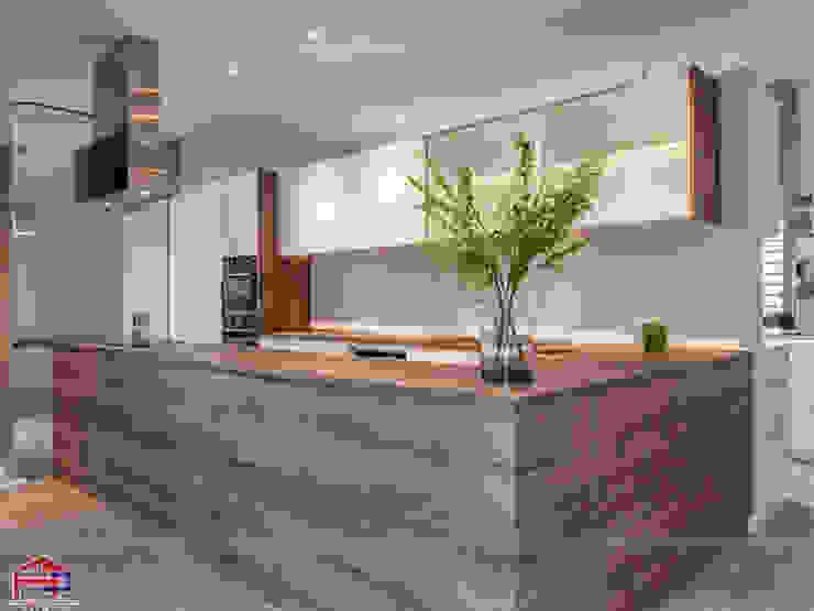 Mẫu tủ bếp laminate thiết kế kèm bàn đảo sang trọng Nội thất Hpro KitchenCabinets & shelves Gỗ Multicolored