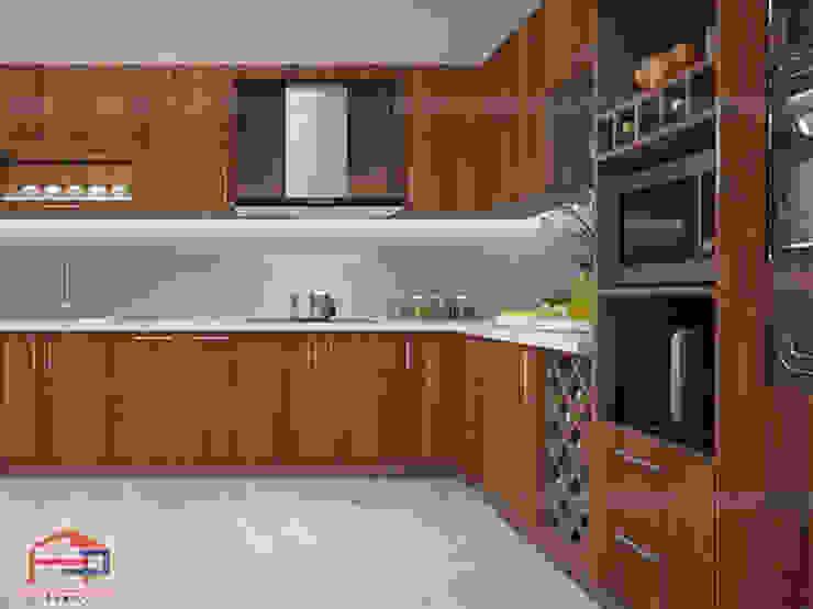 Mẫu tủ bếp laminate màu vân gỗ trầm sang trọng Nội thất Hpro KitchenCabinets & shelves Gỗ Wood effect