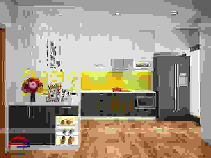 Mẫu tủ bếp laminate hiện đại thiết kế liền bàn đảo Nội thất Hpro KitchenCabinets & shelves Gỗ Multicolored