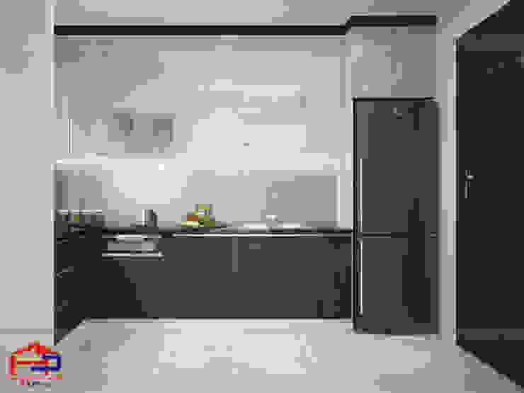 Mẫu tủ bếp laminate chữ L kịch trần Nội thất Hpro KitchenCabinets & shelves Gỗ Multicolored