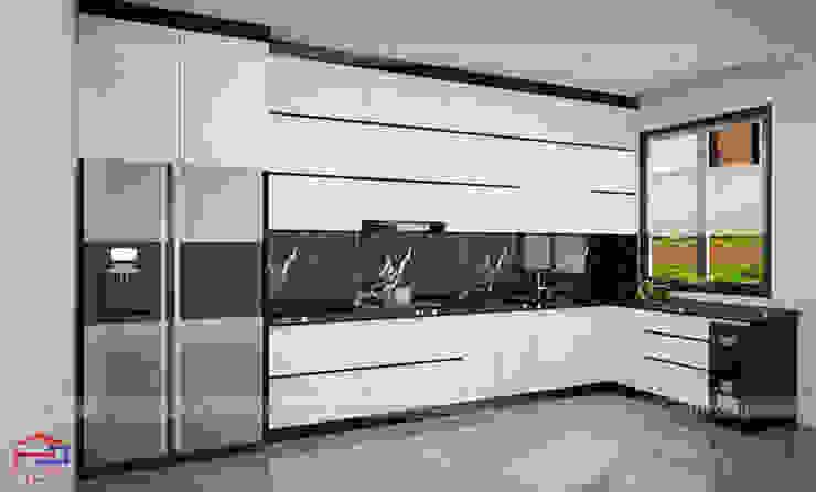 Thiết kế nhà bếp đẹp hiện đại gỗ acrylic nhà anh Thành – Tuyên Quang Nội thất Hpro KitchenCabinets & shelves Gỗ Multicolored