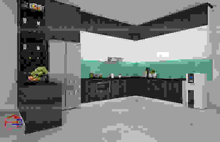 Ảnh thiết kế 3D mẫu tủ bếp gỗ công nghiệp đẹp melamine nhà anh Cường - Hà Đông Nội thất Hpro KitchenCabinets & shelves Gỗ Multicolored