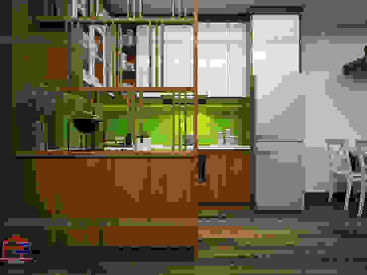 Mẫu tủ bếp gỗ công nghiệp veneer thiết kế liền vách ngăn trang trí Nội thất Hpro KitchenCabinets & shelves Gỗ Multicolored