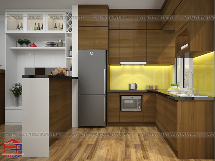 Tủ bếp gỗ veneer đẹp gỗ sồi mỹ được thiết kế quầy bar bếp như vách ngăn giữa phòng khách và phòng bếp tiện nghi Nội thất Hpro KitchenCabinets & shelves Gỗ Multicolored