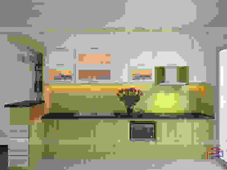 Ảnh thiết kế 3D mẫu tủ bếp gỗ công nghiệp veneer sồi nga nhà chị Nhung - Kim Giang Nội thất Hpro KitchenCabinets & shelves Gỗ Multicolored