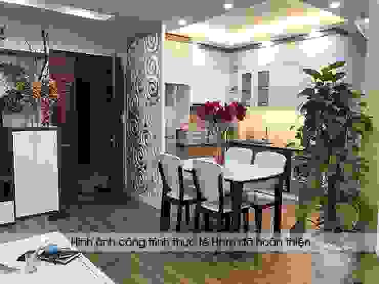 Ảnh thực tế bộ tủ bếp acrylic kết hợp laminate nhà chị Huyền - Hoàng Cầu Nội thất Hpro KitchenCabinets & shelves Gỗ Multicolored