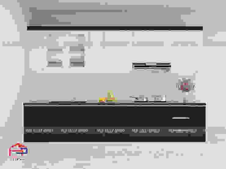 Ảnh thiết kế 3D mẫu nhà bếp đẹp chữ i chất liệu acrylic Nội thất Hpro KitchenCabinets & shelves Gỗ Multicolored