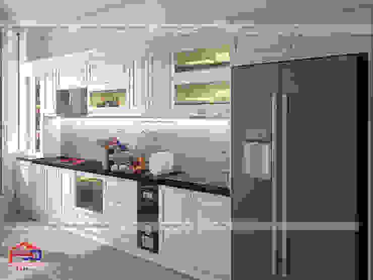 Ảnh thiết kế 3D bộ tủ bếp gỗ công nghiệp HDF sơn trắng nhà anh Việt - Phùng Khoang Nội thất Hpro KitchenCabinets & shelves Ván ép White