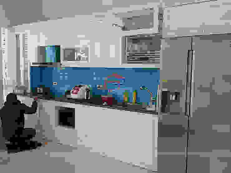 Hình ảnh thực tế bộ tủ bếp gỗ công nghiệp đẹp HDF sơn trắng nhà anh Việt – Phùng Khoang Nội thất Hpro KitchenCabinets & shelves Ván ép White