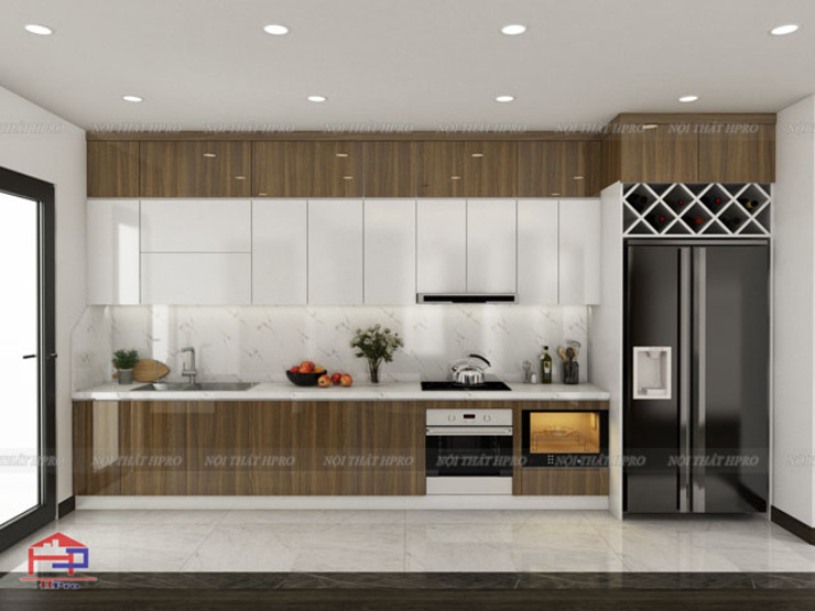 Mẫu thiết kế nhà bếp đẹp chữ I kịch trần Nội thất Hpro KitchenCabinets & shelves Gỗ Multicolored