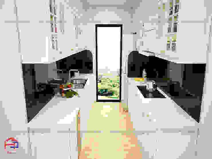 Ảnh thiết kế 3D mẫu tủ bếp gỗ công nghiệp đẹp phong cách tân cổ điển nhà chị Hoa - Kim Giang Nội thất Hpro KitchenCabinets & shelves MDF White
