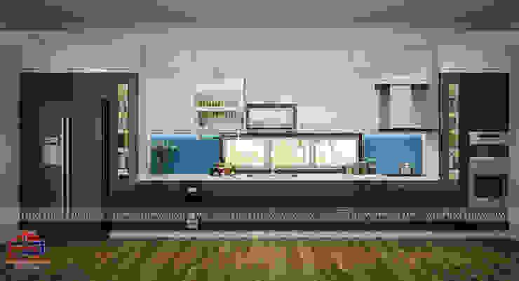 Mẫu thiết kế nhà bếp cạnh ô cửa sổ nhỏ bắt mắt Nội thất Hpro KitchenCabinets & shelves Gỗ Multicolored