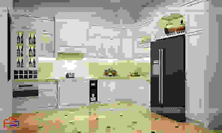 Ảnh thiết kế 3D mẫu tủ bếp gỗ công nghiệp MDF lõi xanh sơn trắng nhà anh Linh - Thanh Hóa Nội thất Hpro KitchenCabinets & shelves White