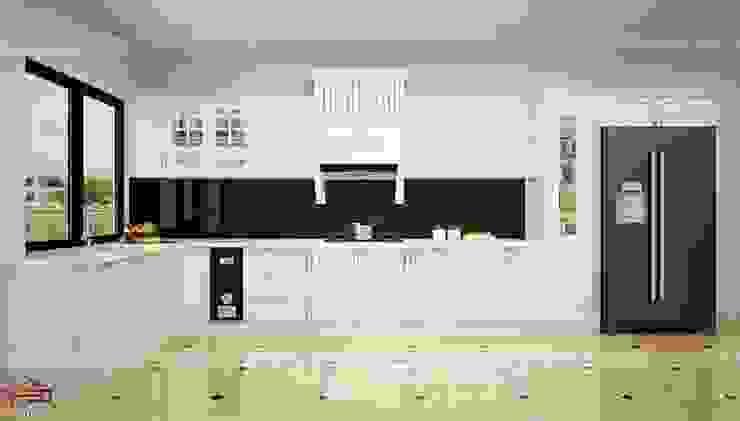 Ảnh thiết kế 3D mẫu tủ bếp tân cổ điển bằng gỗ công nghiệp nhà chú Đạt - Vinhomes Riverside Long Biên Nội thất Hpro KitchenCabinets & shelves MDF White