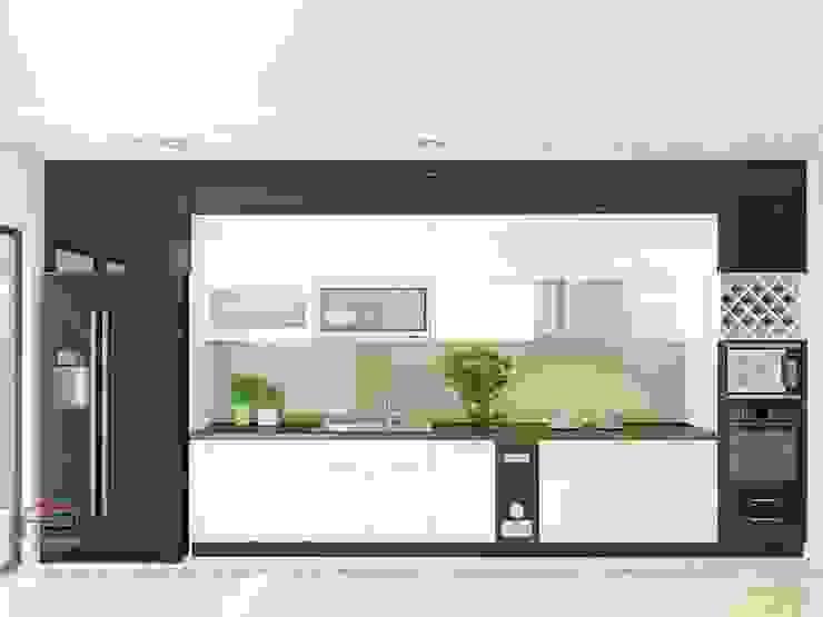 Ảnh thiết kế nhà bếp đẹp bằng chất liệu gỗ công nghiệp acrylic bóng gương màu đen – trắng ấn tượng Nội thất Hpro KitchenCabinets & shelves Gỗ Multicolored
