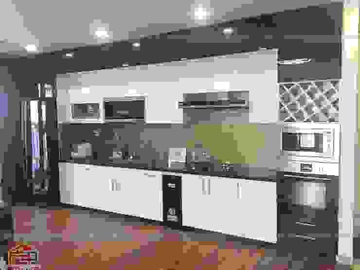 Ảnh thực tế mẫu nhà bếp đẹp Hpro thi công hoàn thiện cho nhà anh Thành – Sunsquare Mỹ Đình Nội thất Hpro KitchenCabinets & shelves Gỗ Multicolored