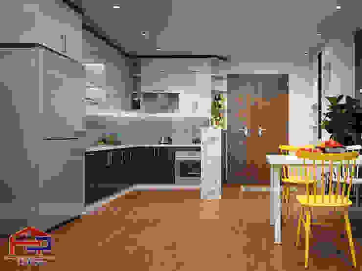Ảnh thiết kế 3D mẫu nhà bếp chữ L kết hợp với quầy bar mini sang trọng Nội thất Hpro KitchenCabinets & shelves Gỗ Multicolored