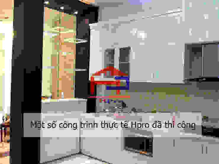 Bộ tủ bếp gỗ công nghiệp sơn trắng giúp nới rộng diện tích cho không gian phòng bếp Nội thất Hpro KitchenCabinets & shelves MDF White