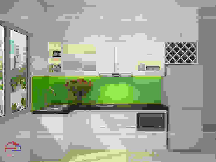 Mẫu tủ bếp chữ L bằng gỗ MDF lõi xanh sơn trắng Nội thất Hpro KitchenCabinets & shelves MDF White