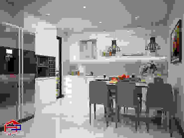 Mẫu nhà bếp đẹp chữ i màu trắng Nội thất Hpro KitchenCabinets & shelves Gỗ Multicolored