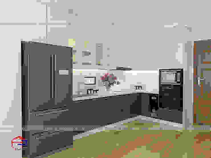 Ảnh thiết kế 3D mẫu nhà bếp đẹp chữ L kịch trần Nội thất Hpro KitchenCabinets & shelves Gỗ Multicolored