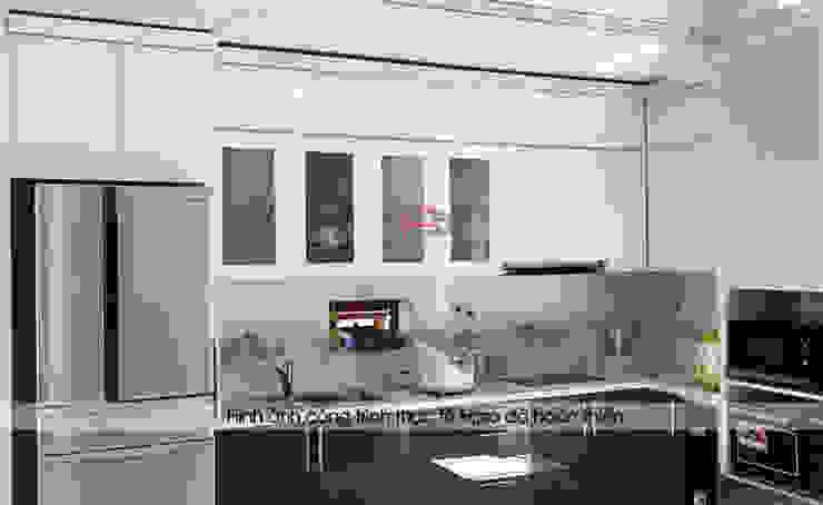 Mẫu nhà bếp đẹp được Hpro thi công hoàn thiện cho nhà cô Mùi – Tiền Hải – Thái Bình Nội thất Hpro KitchenCabinets & shelves Gỗ Multicolored