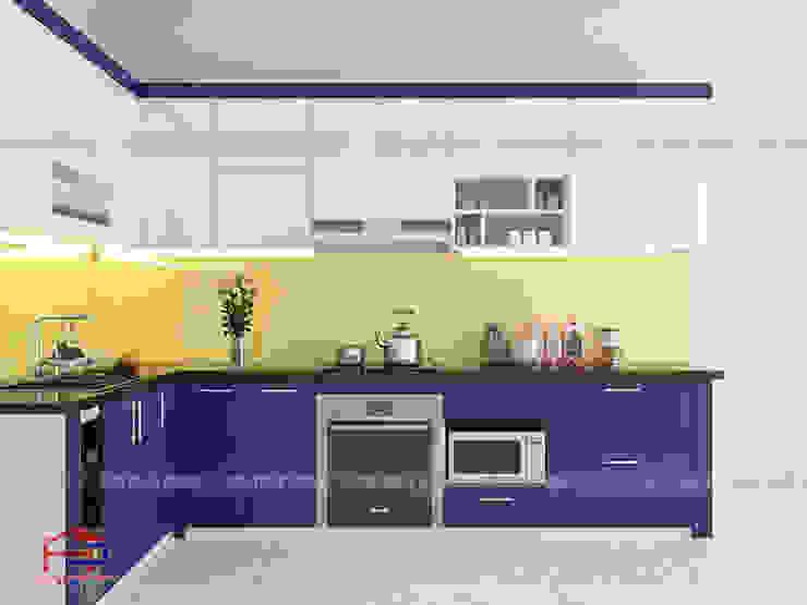 Ảnh thiết kế 3D nhà bếp đẹp chữ L kịch trần Nội thất Hpro KitchenCabinets & shelves Gỗ Multicolored