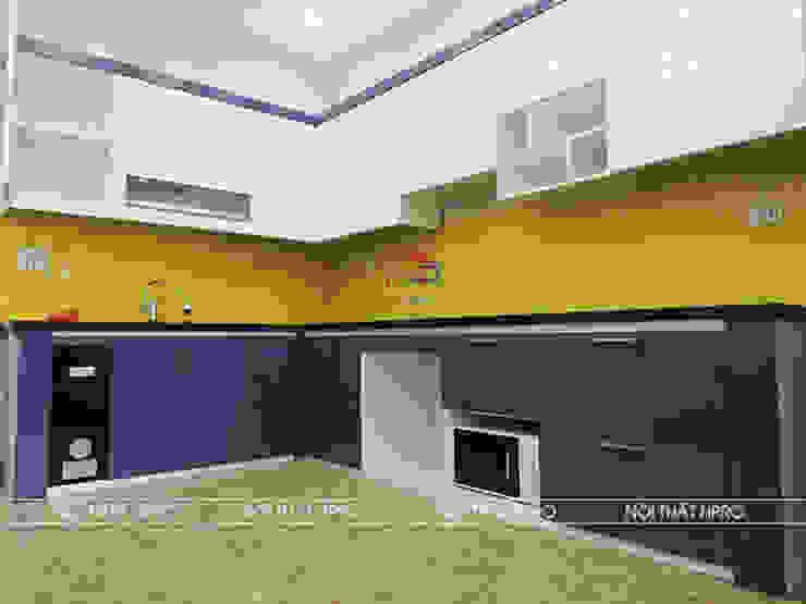 Hình ảnh thực tế mẫu nhà bếp đẹp gỗ acrylic bóng gương màu xanh kết hợp trắng cực kì ấn tượng nhà anh Dương – Hoài Đức Nội thất Hpro KitchenCabinets & shelves Gỗ Multicolored