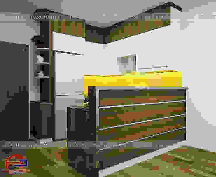 Ảnh thiết kế 3D tủ bếp laminate nhà chú Việt – Hạ Long Nội thất Hpro KitchenCabinets & shelves Gỗ Multicolored