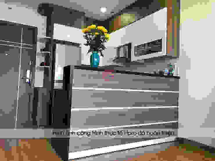Hình ảnh thực tế nhà bếp đẹp gỗ laminate thiết kế có quầy bar đơn giản, tiện ích nhà chú Việt – Hạ Long Nội thất Hpro KitchenCabinets & shelves Gỗ Multicolored