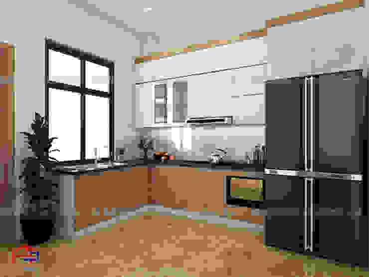 Thiết kế nhà bếp đẹp kiểu hiện đại bằng gỗ laminate An Cường cho căn hộ chung cư nhỏ nhà anh Hưng – Định Công Nội thất Hpro KitchenCabinets & shelves Gỗ Multicolored