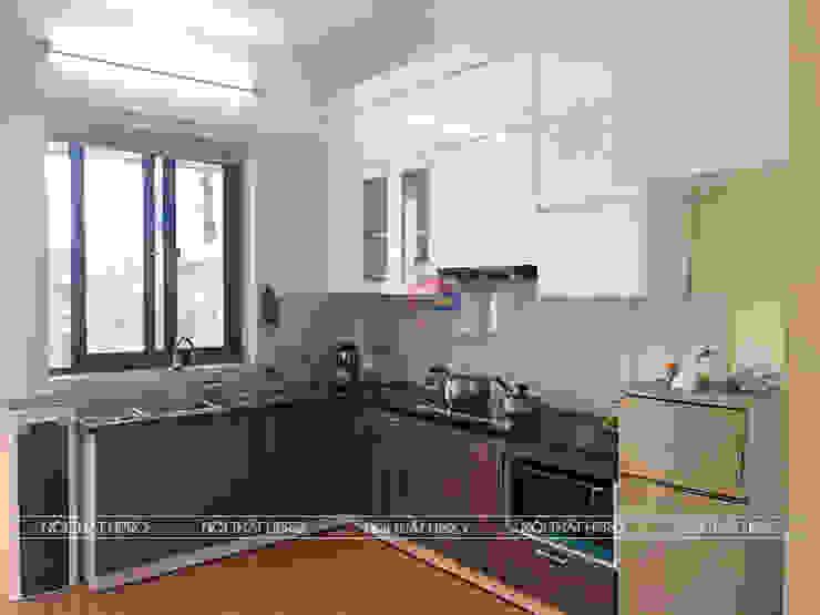 Ảnh thực tế tủ bếp nhà anh Hưng - Định Công Nội thất Hpro KitchenCabinets & shelves Gỗ Multicolored