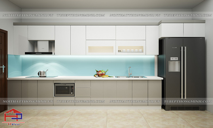 Ảnh thiết kế 3D mẫu nhà bếp đẹp chữ i Nội thất Hpro KitchenCabinets & shelves Gỗ Multicolored