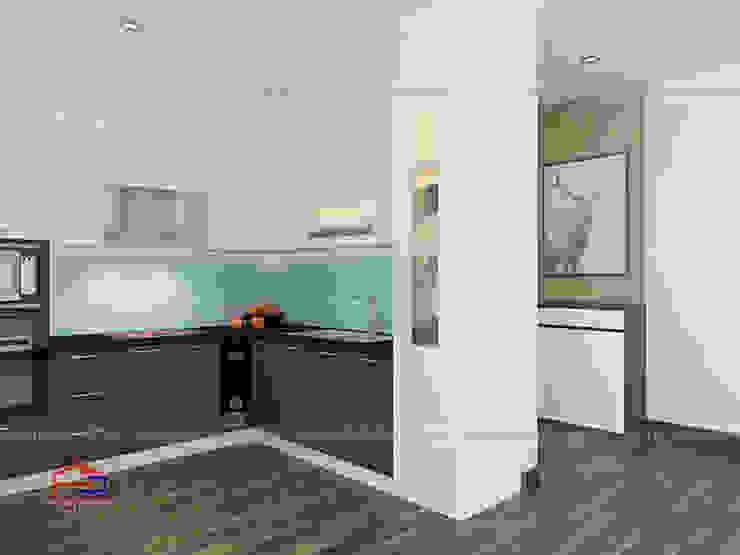 Ảnh thiết kế 3D bộ tủ bếp chữ L kịch trần Nội thất Hpro KitchenCabinets & shelves Gỗ Multicolored