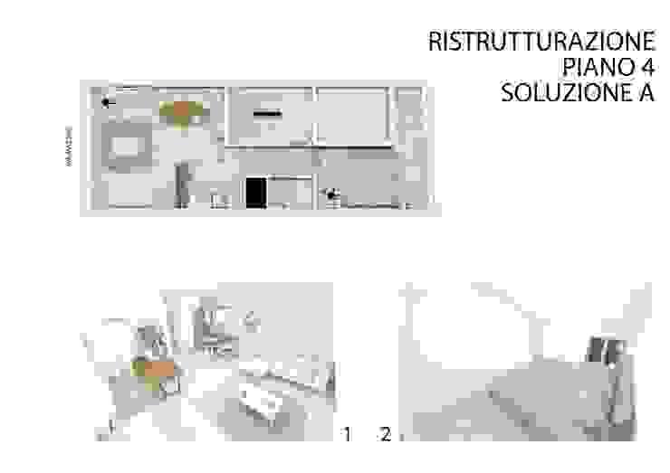 Soluzione 'A' per la ristrutturazione del appartamento al quarto piano di studiolineacurvarchitetti