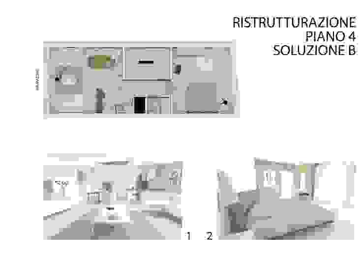 Soluzione 'B' per la ristrutturazione del appartamento al quarto piano di studiolineacurvarchitetti